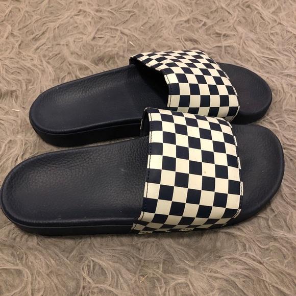 Vans Shoes - Checkered men's vans slides